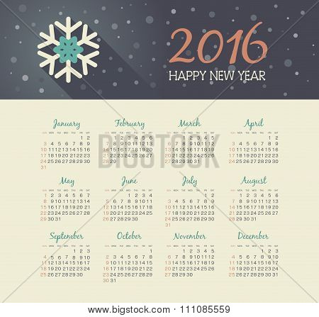 Calendar 2016 Year With Christmas Snowflake