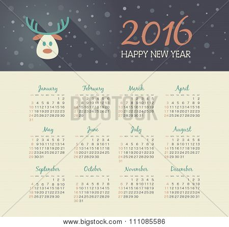 Calendar 2016 Year With Christmas Reindeer