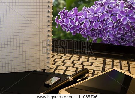 Office Workplace With Notebook, Smart Phone, Pen, Flash Drive And Wordpad With Violet Flowers Backgr