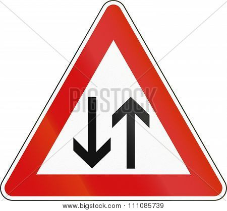 Slovenia Road Sign - Two Way Traffic
