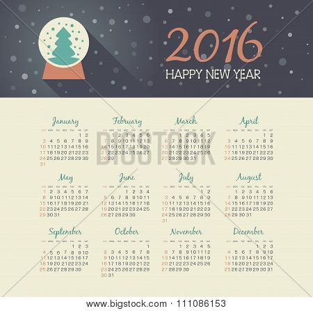 Calendar 2016 Year With Christmas Snow Globe