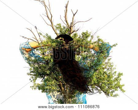 Double Exposure: Young Brunette Girl In Bikini And Pareo And Ancient Oak Tree