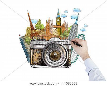 Drawing Famous World Landmarks, Photo,