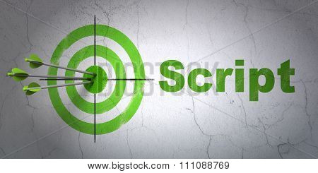 Database concept: target and Script on wall background