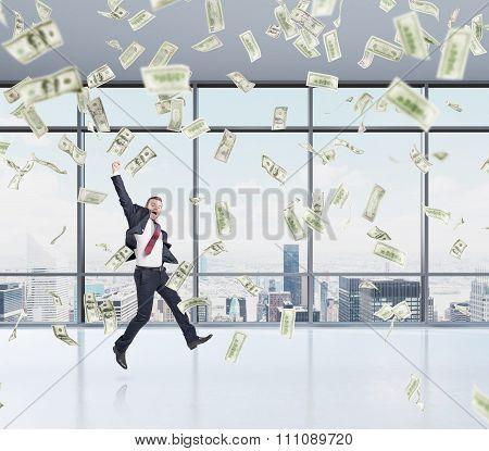 Businessman Jumping, Money Rain
