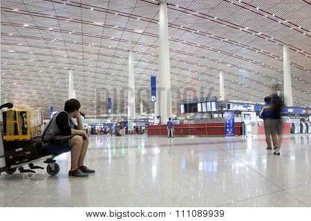 BEIJING, CHINA - MAY 18, 2015: Beijing Capital international  airport