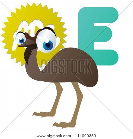 vector cartoon animals alphabet: E  is for Emu