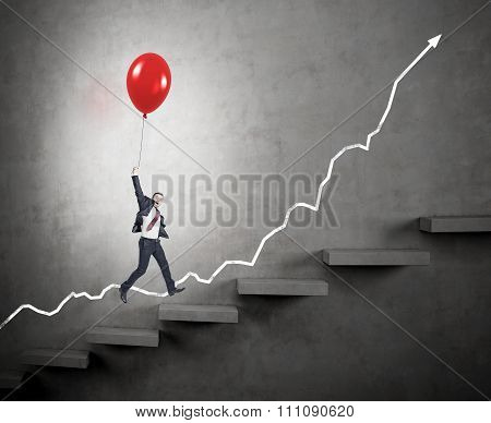 Man Climbing Career Ladder Easily
