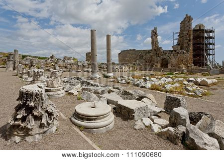 Perga Ruins In Turkey With The Hellenistic Gates