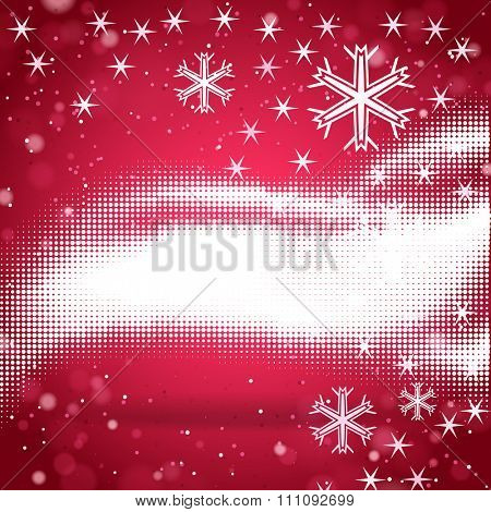 Abstract red halftone background with snowflakes