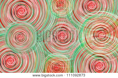 New Year Background With Whirlwind Circles Of Red And Green Shades