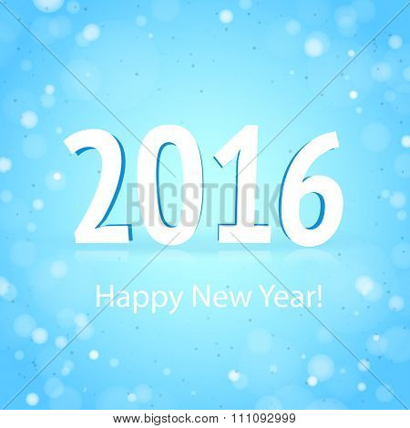 2016 Happy New Year on the light blue background