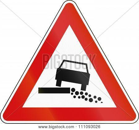 Slovenian Road Warning Sign - Soft Shoulder