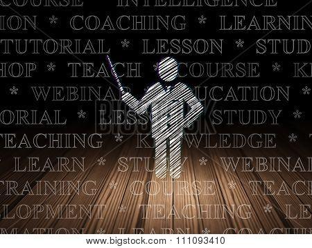 Studying concept: Teacher in grunge dark room