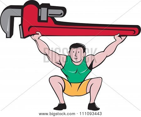 Plumber Weightlifter Lifting Monkey Wrench Cartoon