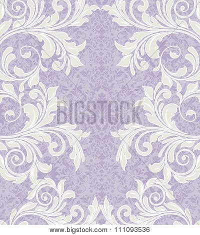 Vintage invitation card with ornate elegant retro abstract floral design, pale yellow green flowers and leaves on pale violet and gray background with text label. Vector illustration.