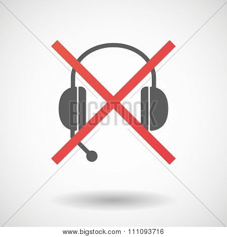 Not Allowed Icon With  A Hands Free Phone Device