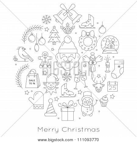 Christmas ball - black and white line icons, arranged in circle