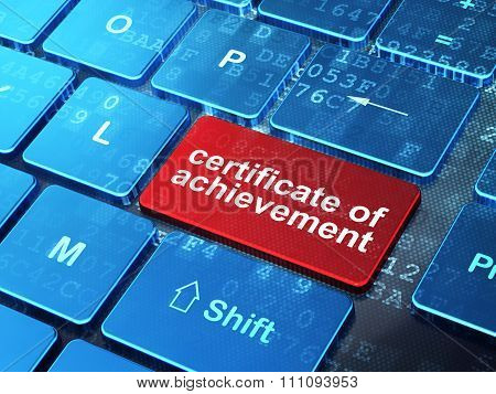 Education concept: Certificate of Achievement on computer keyboard background