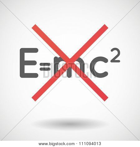 Not Allowed Icon With The Theory Of Relativity Formula