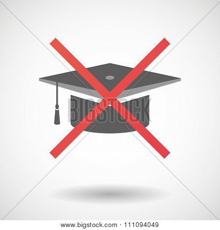 Not Allowed Icon With A Graduation Cap