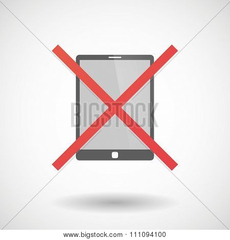 Not Allowed Icon With A Tablet Computer