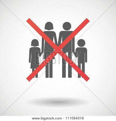 Not Allowed Icon With A Conventional Family Pictogram
