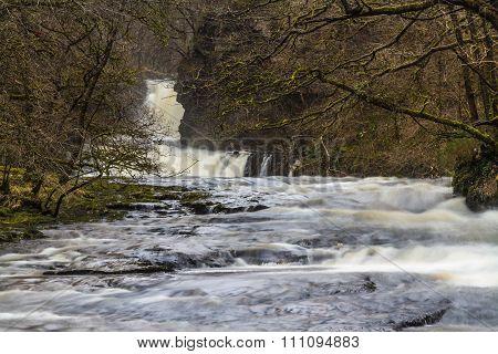 River Nedd Fechan With Sgwd Ddwli Isaf Waterfall, South Wales, Uk Winter.