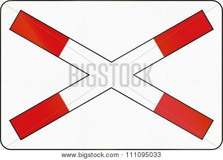 Slovenian Road Warning Sign - Crossbuck For Single Track Level Crossing