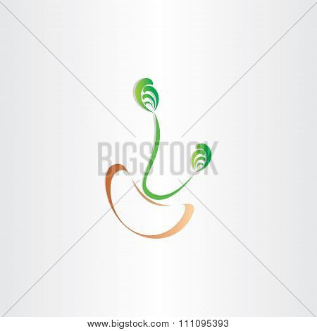Grain Bean Germination Seed Icon Vector