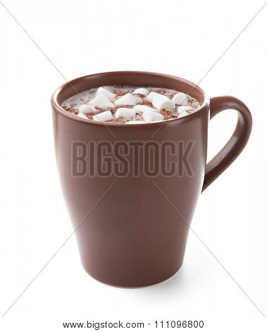 Brown cup of cacao with zephyr, isolated on white