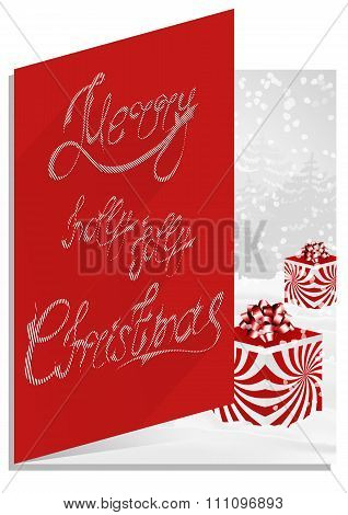 Christmascard typography, handwriting, colorful