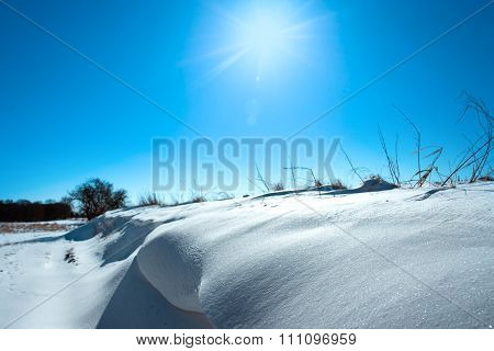 Snow In A Winter Landscape With Sunshine