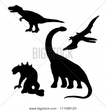Dinosaurs (lizards) Silhouettes Set (drawings)