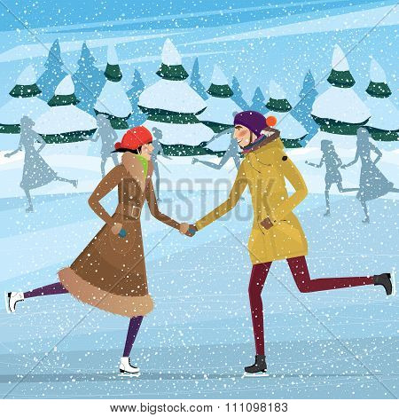 Couple On Public Ice Rink