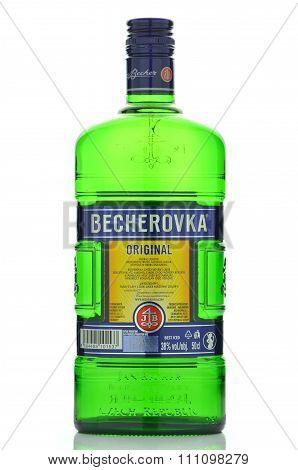 Bottle of Becherovka isolated on white background