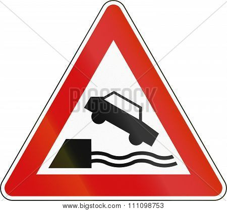 Slovenia Road Sign - Quayside Or River Bank