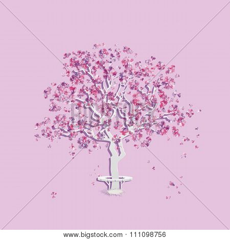 Spring landscape with abstract blooming tree