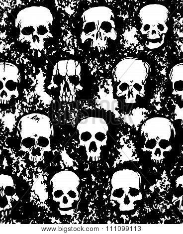 set of hand drawn skulls