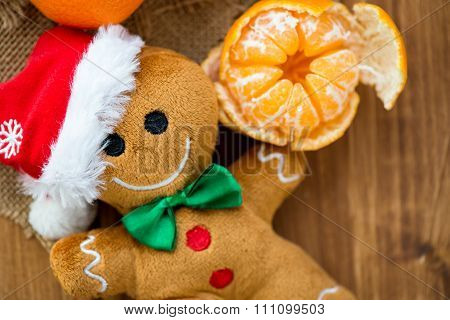 Gingerbread Man Soft Toy And Fresh Clementines