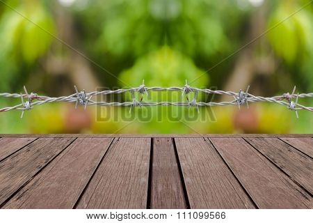 Bokeh And Wood Background