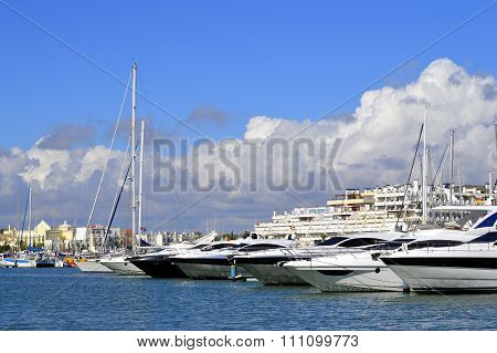 Vilamoura, Algarve, Portugal - October 26, 2015 Luxury yachts in Vilamoura Marina