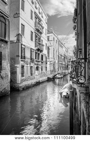 Narrow Canal In Venice