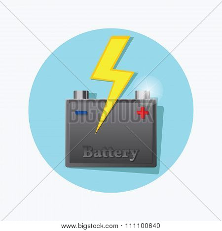 Storage Battery Flat Icon. Vector.