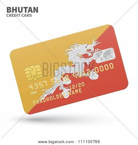 Credit card with Bhutan flag background for bank, presentations and business. Isolated on white