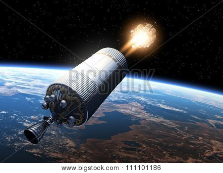 Space Station Launch Orbiting Earth