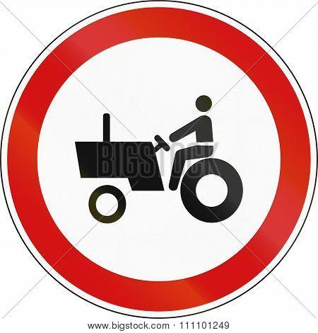 Slovenian Regulatory Road Sign - No Tractors