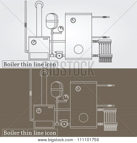 Boiler Thin Line Design. Boiler Pen Icon. Boiler Icon Vector. Boiler Icon Drawing. Boiler Pen Icon I