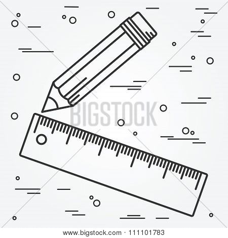 Ruler And Pencil Thin Line Design. Ruler And Pencil Pen Icon. Ruler And Pencil Icon Vector.