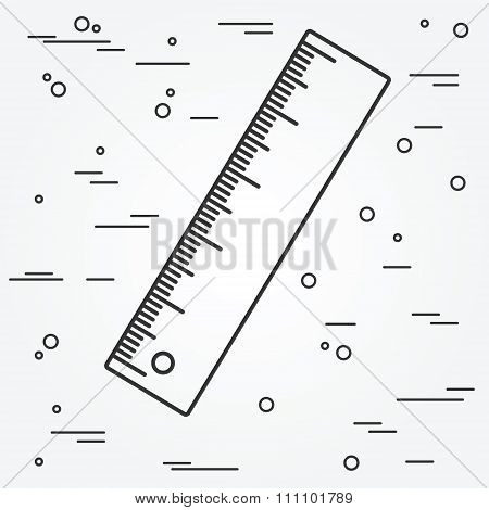 Ruler Thin Line Design.ruler Pen Icon. Ruler Icon Vector. Ruler Icon Drawing.ruler Pen Icon Image.ru